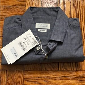 NWT Zara Men's slim fit light weight dress shirt